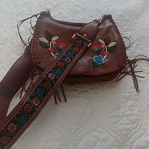 Leather look embroidered handbag